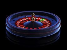 Blue Casino roulette wheel isolated on black background. Modern Casino roulette for poker table. Casino game 3D object royalty free illustration