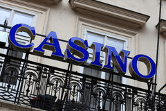 Blue casino sign. On a street of city Stock Photo