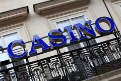 Blue casino signboard Stock Images