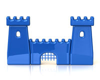 Blue castle icon Stock Images