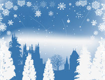 Blue castle and white snowflakes Royalty Free Stock Images