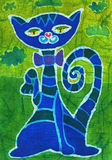 Blue cat. Image of my artwork with a blue cat