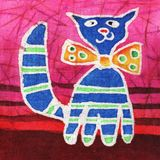 Blue cat. Image of my artwork with a blue cat with a bow-tie Royalty Free Stock Photo