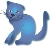 Blue cat. Computer illustration, stylized blue cat with blue eyes Stock Photos