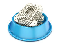 Blue cat bowl with fish bones, 3D. Render illustration  on white background Royalty Free Stock Photo