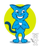 Blue Cat Cartoon Stock Image