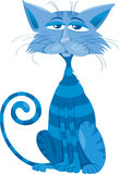 Blue cat character cartoon illustration Royalty Free Stock Photos