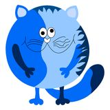 Blue cat cute cartoon. Illustration Stock Photo