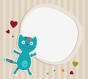 Blue Cat with frame. Card Royalty Free Stock Photo