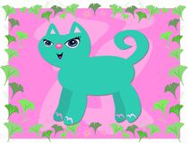 Blue Cat in Gingko Leaves Frame Royalty Free Stock Photography