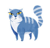 Blue cat. Hand drawn Royalty Free Stock Image