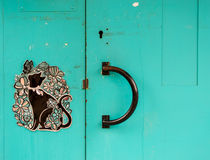 Blue Cat Handle Door Royalty Free Stock Photography