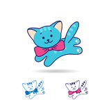 Blue cat or kitty icon with bow, line and flat style. Stock Images