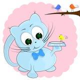 Blue cat and little birds. cartoon vector illustration. Blue cat and little birds. cartoon cute vector illustration vector illustration