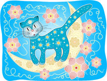 Blue Cat on the Moon. Vector Illustration Stock Photos