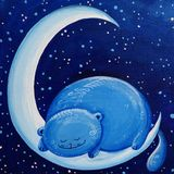 Blue Cat On The Moon Stock Image
