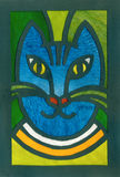 Blue cat portrait applique artistic illustration Royalty Free Stock Photos