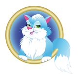 Blue cat  in round frame Stock Photography