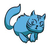 Blue cat running. A series of silly multi-colored cats. Blue cat running. Isolation on white background. A series of silly multi-colored cats. Vector Stock Photography