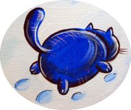 Blue Cat In The Snow Stock Images
