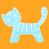 Blue cat with white ornament Royalty Free Stock Photo