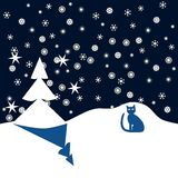 Blue cat in winter night Royalty Free Stock Images