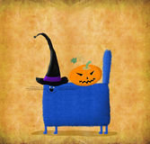 Blue Cat In Witch's Hat. Funny Halloween Card: square blue cat in witch's hats with pumpkin head on its back Royalty Free Stock Photos