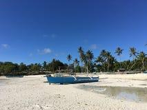 Blue catamaran boat with reflection at Anda beach Royalty Free Stock Photo