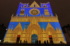 A blue Cathedral in Lyon Stock Image