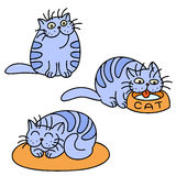 Blue Cats Emoticons Set. Isolated Vector Illustration. Blue Cats Emoticons Set. Funny Cartoon Cool Character. Contour Freehand Digital Drawing Cute Pet Stock Photos
