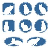 Blue cats frames. Eight dark blue frames with white cat's silhouettes Stock Photography