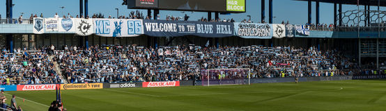 Blue cauldron Fans supporting Sporting Kansas City at Children`s Mercy Park. Kansas City soccer team plays a game at children`s Mercy park.  Fan show team colors Royalty Free Stock Image