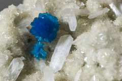 Blue cavansite crystals. Royalty Free Stock Images