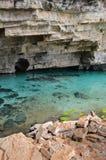 Blue cave. At chapada diamantina region in Brazil royalty free stock photography