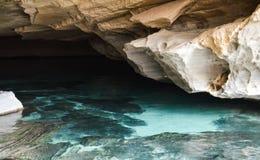 Blue cave. At chapada diamantina region in Brazil stock photo