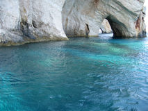 Blue caves. The famous blue caves in Zante Greece Stock Image