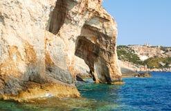 Blue caves at bright sunny day Zakinthos Greece Stock Photo