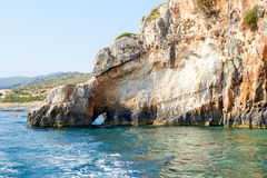 Blue caves at bright sunny day Zakinthos Greece Stock Images