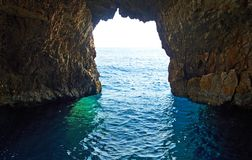 Blue caves at bright sunny day Zakinthos Greece Royalty Free Stock Photos