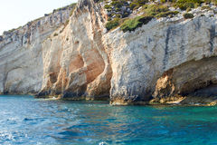 Blue caves at bright sunny day Zakinthos Greece Royalty Free Stock Images