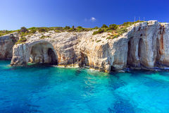 Blue caves at the cliff of Zakynthos island Royalty Free Stock Image