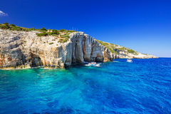 Blue caves at the cliff of Zakynthos island Royalty Free Stock Photos