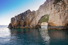 Blue caves at the cliff of Zakynthos island Stock Images