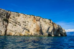 Blue caves at the cliff of Zakynthos island, Greece stock images