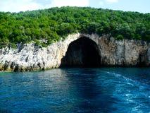 Blue caves on Corfu island in Greece, Ionian sea, Mediterranean. Blue caves on Corfu island in Greece Ionian sea Stock Photo
