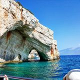 Blue caves. Water reflecting on rocks in Zakynthos blue caves Royalty Free Stock Images