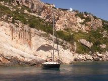 Blue Caves Zakynthos. Yacht moored off coastline of blue caves on Zante or Zakynthos island, Greece Stock Image
