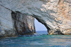 Blue caves on Zakynthos , Greece Royalty Free Stock Photos
