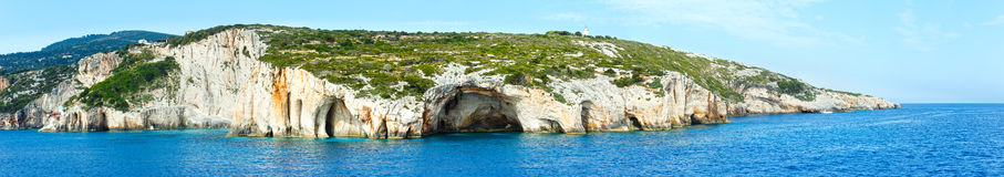 The Blue Caves in Zakynthos (Greece). Panorama. Royalty Free Stock Photos