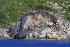 Blue Caves - Zakynthos Island, landmark attraction in Greece. Ionian Sea. Seascape Stock Image